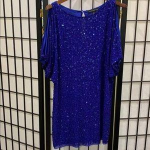 Aidan Mattox Blue Sequin Dress Cold Shoulder